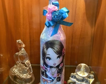 Hand decorated glass bottle for pug lovers