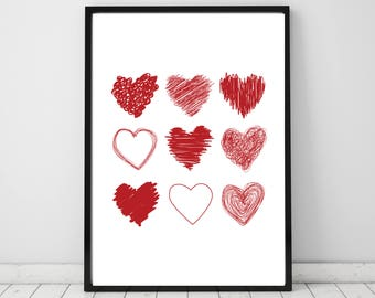 Hearts Wall Print. Valentines Day Gift for her or him.