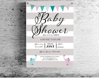 Grey Striped Baby Shower Personalised Elephant / Feet / Hands Invites