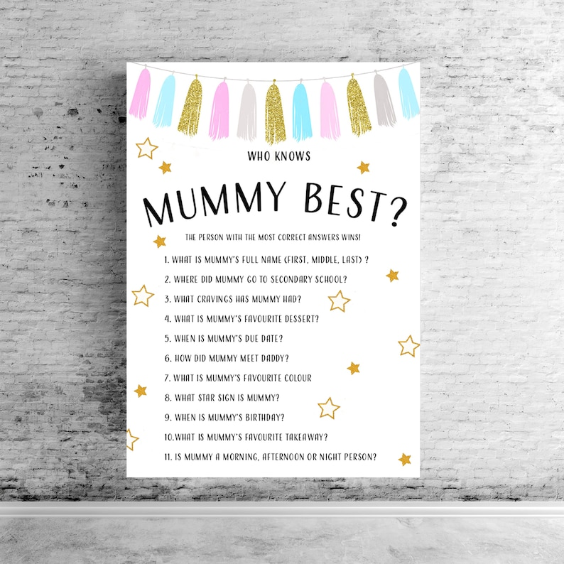 Baby Shower Quiz Who Knows Mummy Best How Well Do You Etsy