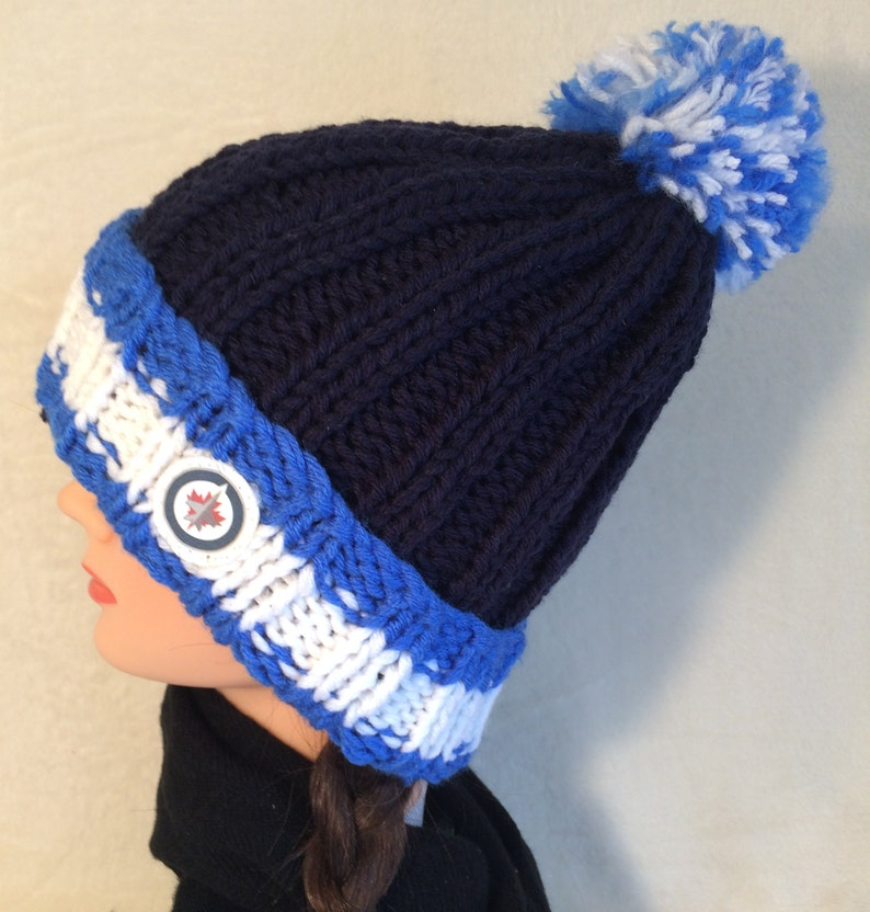 Winnipeg Jets Hat Hockey Hat Chunky Knit Hat Hand Knit Hat  5d488302040