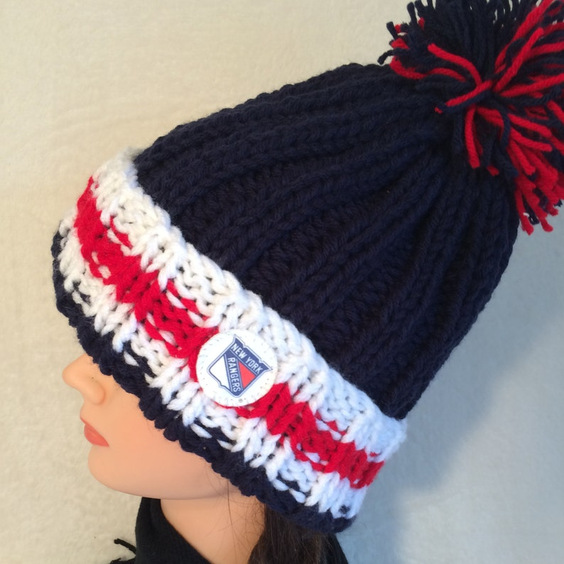 53c22a1d16c New York Rangers hat Hockey hat Chunky knit hat Hand knit