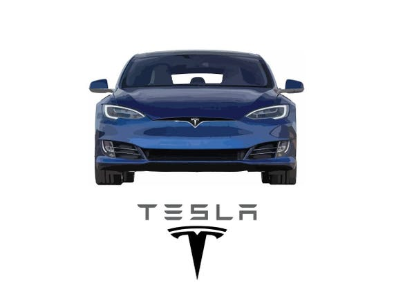 Tesla Model 3 III B/&W drawing vector vectorized print poster high quality