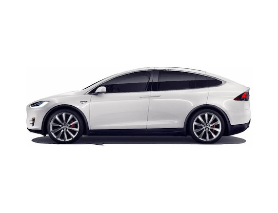 Tesla Model X White side view vector vectorized print ultra high quality