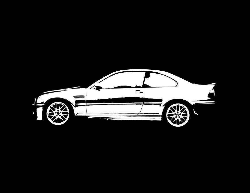 BMW E46 M3 B&W line drawing vector vectorized print ultra high | Etsy