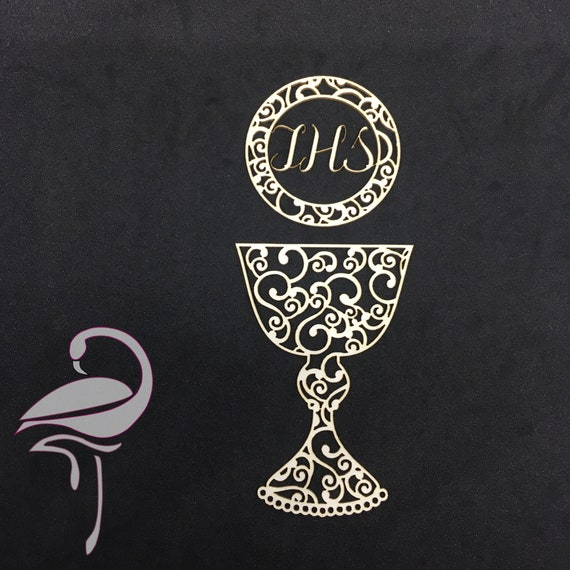 Chalice /& Host First Communion Ornaments Cut-out Chipboard Shapes 3 Pack Card...