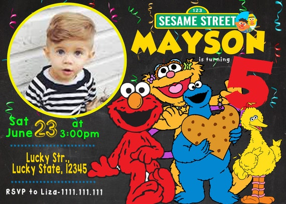 Sesame Street Birthday Invitation, Sesame Street Invitation With Photo, Sesame Street Party, Birthday Invitation For Boys With Picture by Etsy