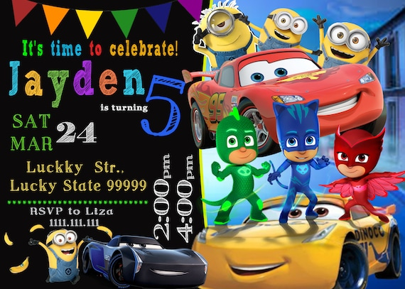 Cars 3 Invitation PJ Masks Minions