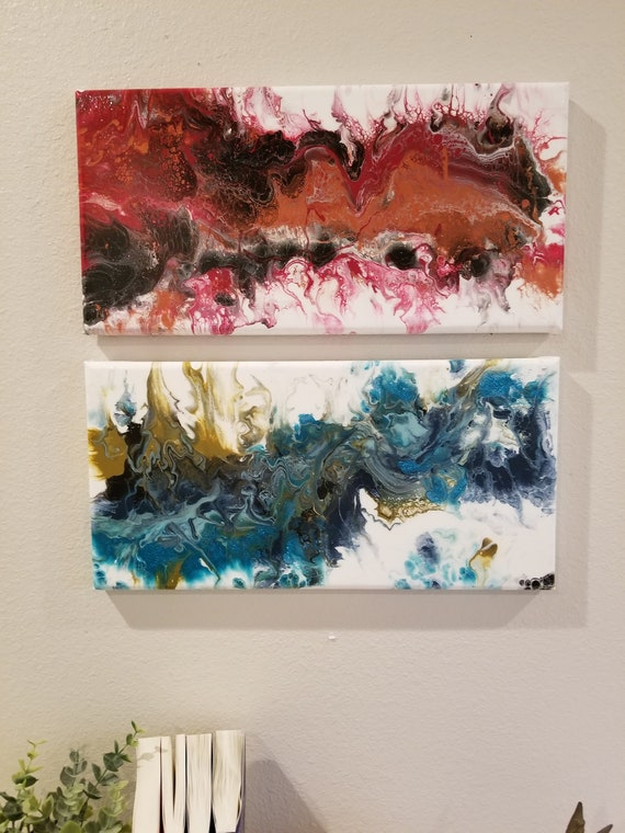 Original 2 Panel Painting Fire And Ice 2 8 X 16 Canvases Fluid Art Abstract Art Acrylic Painting On Canvas Home Decor And Wall Art