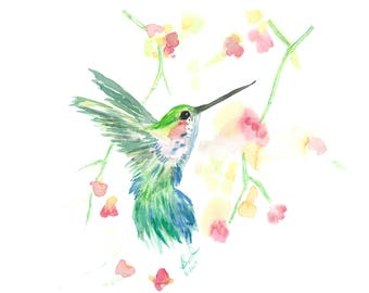 Hummingbird in Shades of Green & Blue