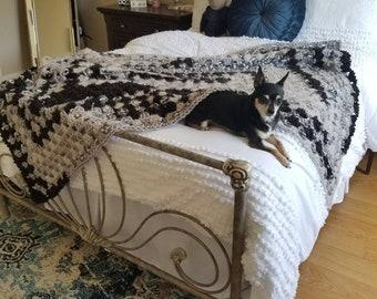 Textured Crochet Throw Blanket