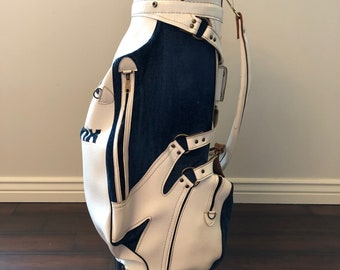65568d84057c Vintage Lynx Leather Golf Bag Carry White Blue 3 Way Strap 70s Retro Logo  RARE