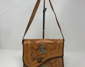 Vintage Mexican Hand Tooled Leather Purse Shoulder Bag Floral Turquoise Painted