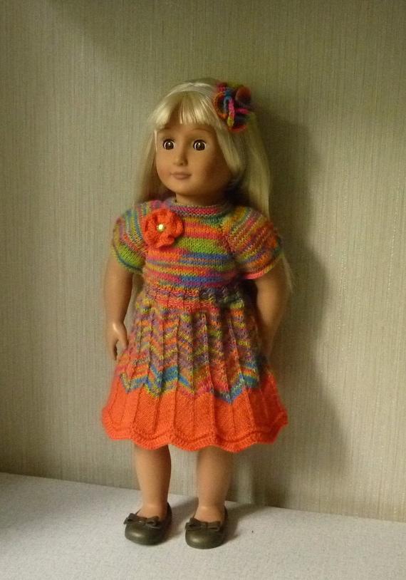 18 in Puppe Kleidung stricken häkeln Kleid Knöpfe auf der