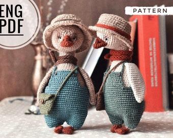 Goose crochet pattern (8 in). Amigurumi goose pattern. Vintage Crochet Pattern. Easy amigurumi pattern for beginners.Crochet pattern animals