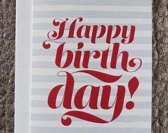 Happy Birthday Card; Typographic card; Modern graphic birthday card; birthday card