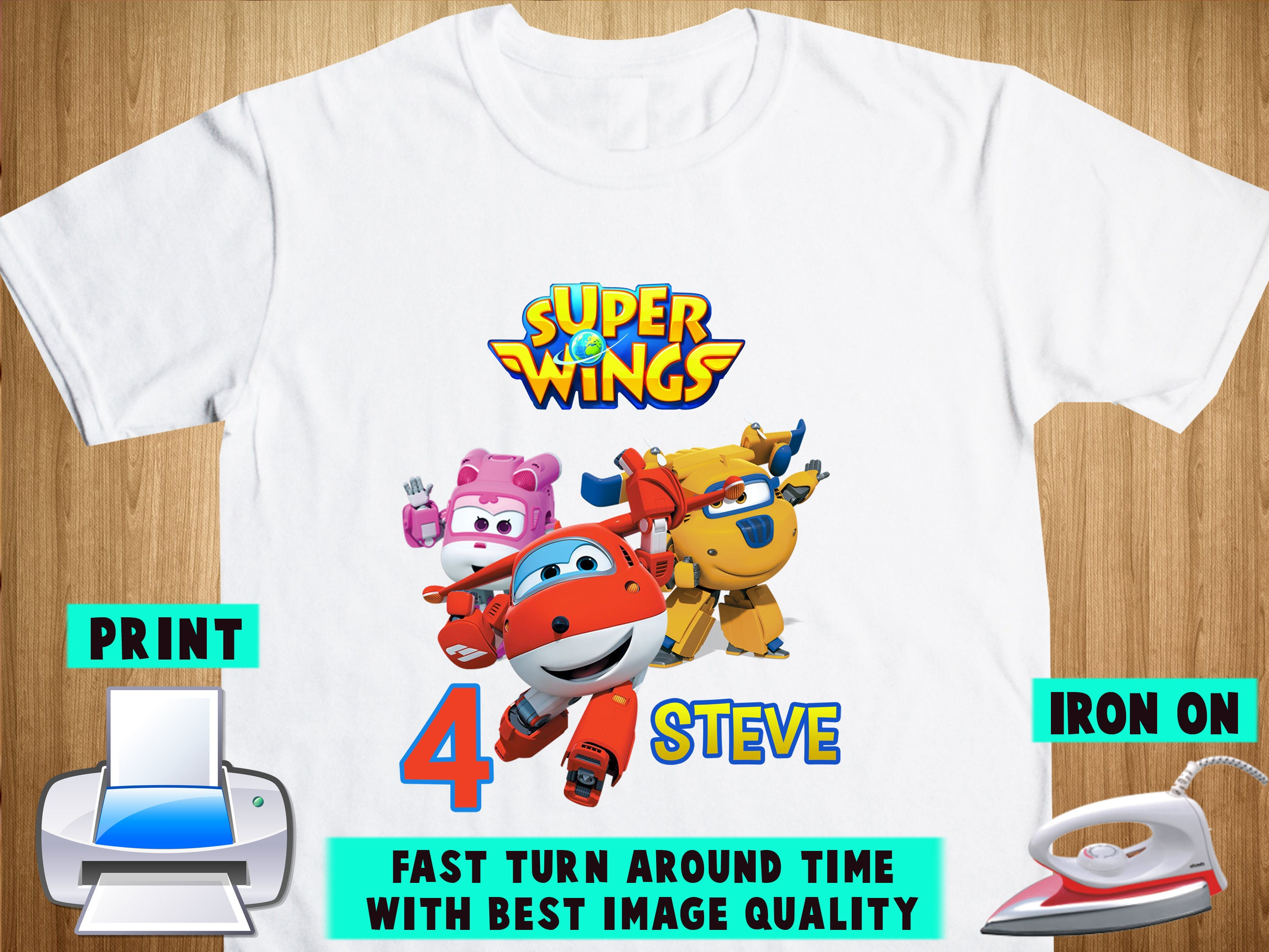 Super Wings Iron On Transfer Super Wings Birthday Shirt Diy Etsy