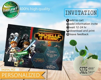 starwars, star wars, starwars invitations, starwars birthday card, starwars lego invitation card, starwars birthday party, starwars lego