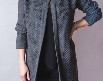Cardigan Coat, Long Cardigan, Wool Coat, Women Cardigan, Gray Cardigan, Winter Cardigan, Warm Cardigan, Loose Cardigan, Fashion Cardigan