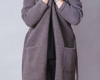 Cardigan Coat, Long Cardigan, Wool Coat, Women Cardigan, Brown Cardigan, Winter Cardigan, Warm Cardigan, Loose Cardigan, Fashion Cardigan