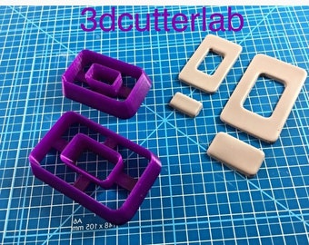 Set of double rectangular cutters for polymer paste and metal clay cabochons