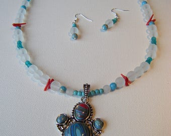 Rainbow calsilica, coral, turquoise eye-catching necklace and earring set #76