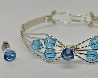 Bracelet and Earrings Aquamarine
