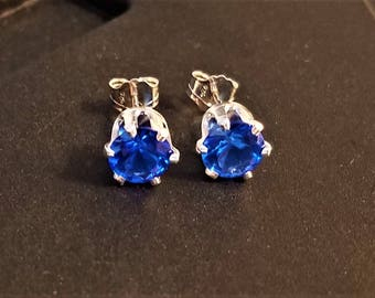 Earrings, electric blue