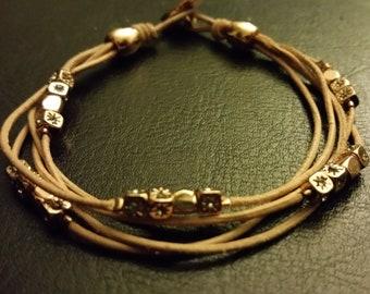 Fossil leather and rhinestone bracelet