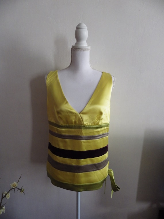 red VALENTINO silk yellow tank top