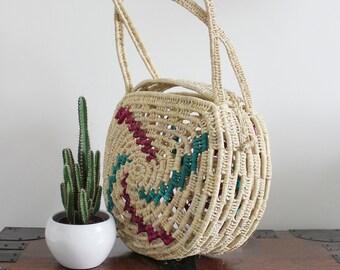Hand made raffia woven Moroccan Basket tote