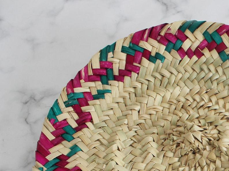 moroccan hand woven straw fan