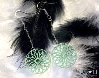 """Rosace"", minty green earrings"