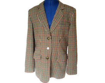 8ea492dd85fd Vintage 80s Gantos Blazer Womens Size Large Wool Check Highland Tweed Suit  Jacket
