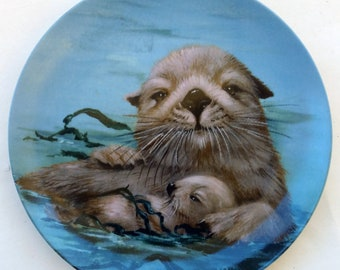 3331ee085 Vintage 1980 Endangered Species California Sea Otters Decor Plate by Sadako  Mano Hackett American Collectors 5193/7500