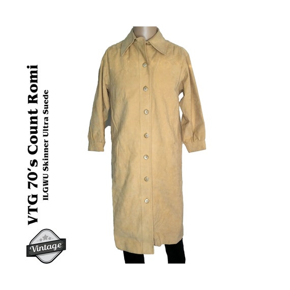 Vintage 70s Count Romi Skinner Ultra Suede Trench