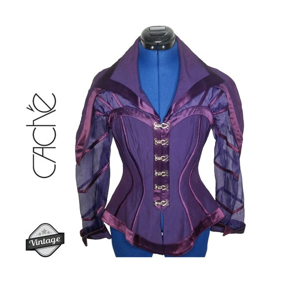 Vintage 80s Cache Purple Corset Sheer Top Jacket M