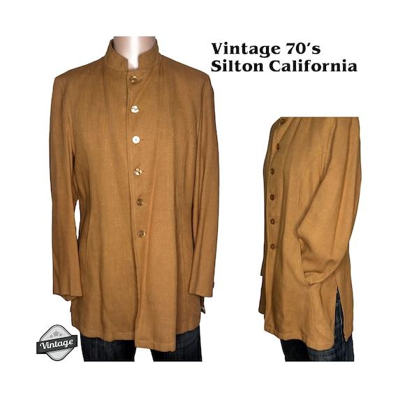Vintage 70s Silton of California Mandarin Collar N