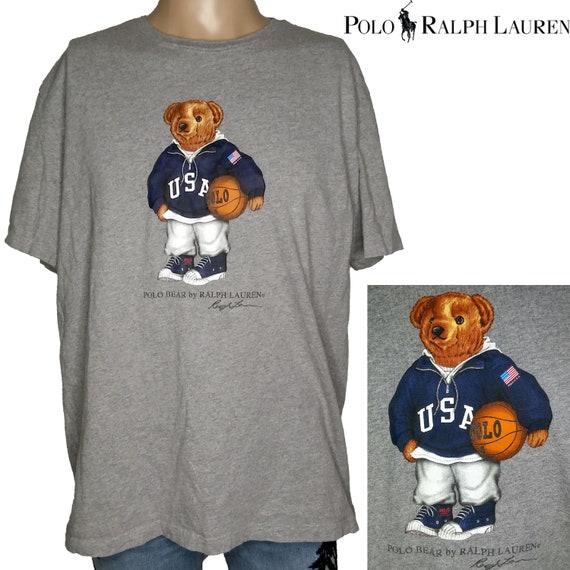 Vintage 90s Ralph Lauren Polo Bear Basketball T Sh