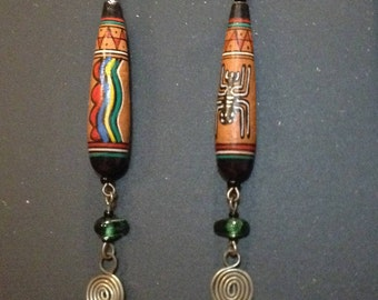 Tribal Earrings with Art Beads