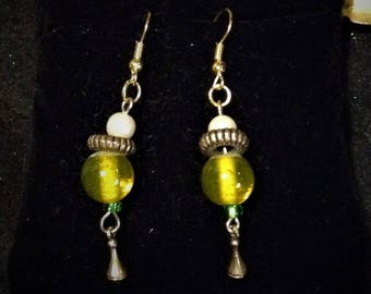 Yellow Dangle Earrings Made from Vintage Parts