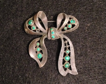 Vintage Bow Brooch with Green Stones