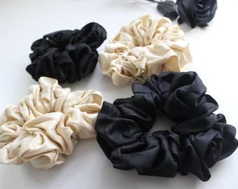 Black Silk Scrunchie - Large Hair Accessories - Genuine Pure Silk Hair Tie
