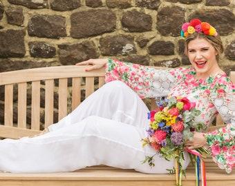 Size 12 printed lace bridal jumpsuit