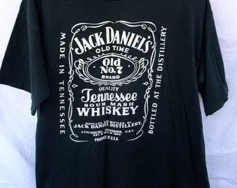 70d8e957c free shipping ! vintage shirt 90s Jack Daniels t-shirt men's unisex black  XLarge