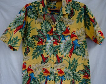 20cd7786 free shipping Shirt Aloha Republic Hawaiian XL Original Men's Made in Hawaii  Multicollor Made in Hawaii Parrot cockatoo ara Retro