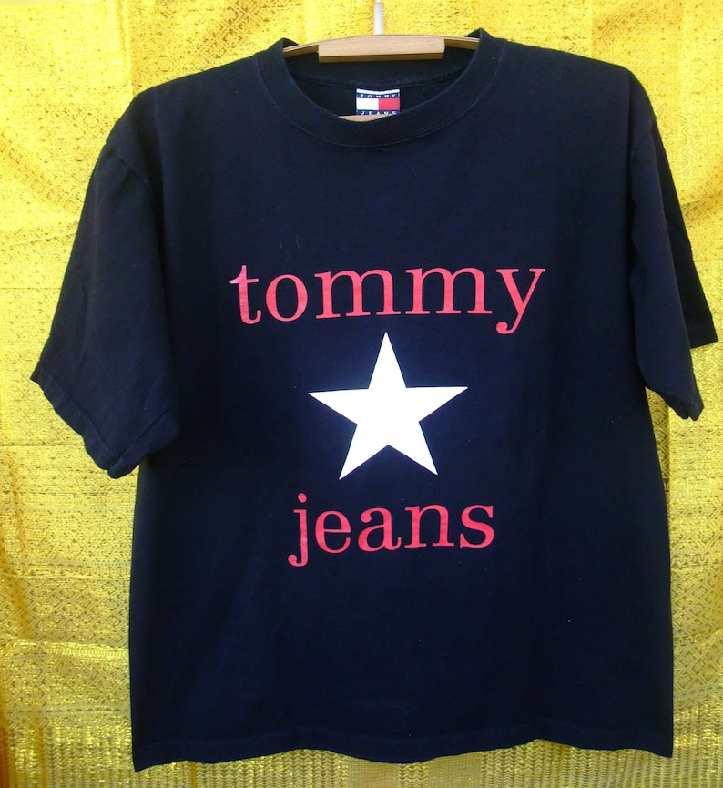 097b8e4d7f Vintage Tommy Hilfiger Jeans t-shirt Made in USA navy blue | Etsy