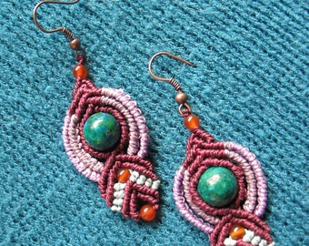 "Earrings ""COSMOS"" Purple and blue bead macrame Chrysocolla and Agate Orange by TohyaArtisanat"