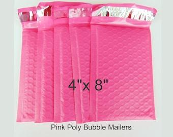 """10 pcs 4"""" x 8"""" Pink Poly Bubble Mailer Envelope - Lightweight Waterproof Self Adhesive Sealing"""