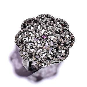 diamond ring Pave 925 sterling silver women ring Size 27 x 17mm R-2134 Pave And white diamond Pave Diamond ring jewelery Pave Diamond